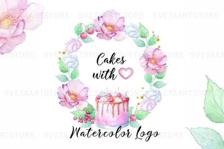 Premade Logo Cake, Watercolor Logo, Bakery