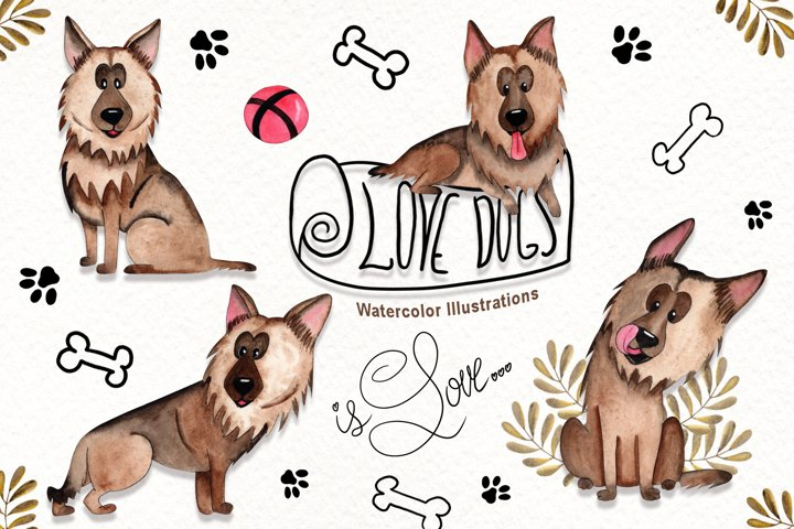 Watercolor Dogs Illustrations example