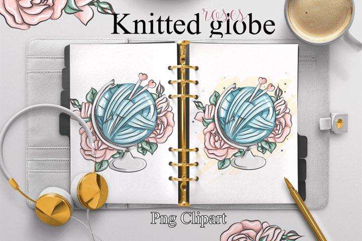 Crochet clipart, knitting flowers clipart