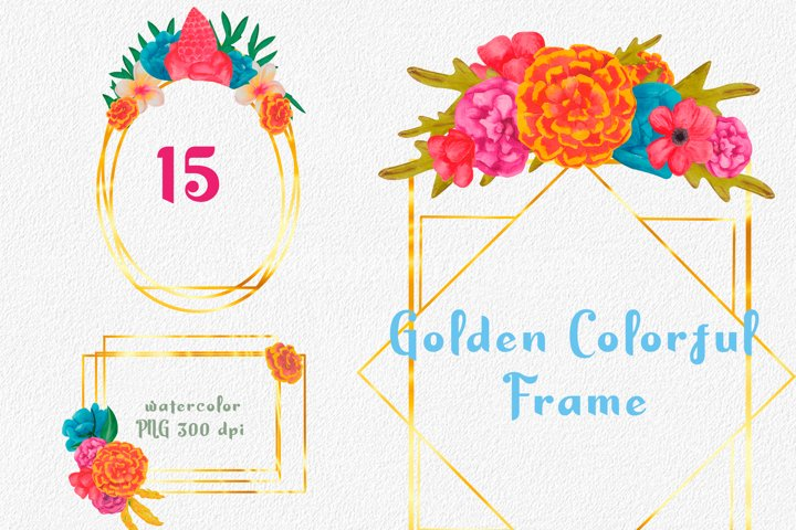 Colorful flowers frame. Watercolor wedding invitation.