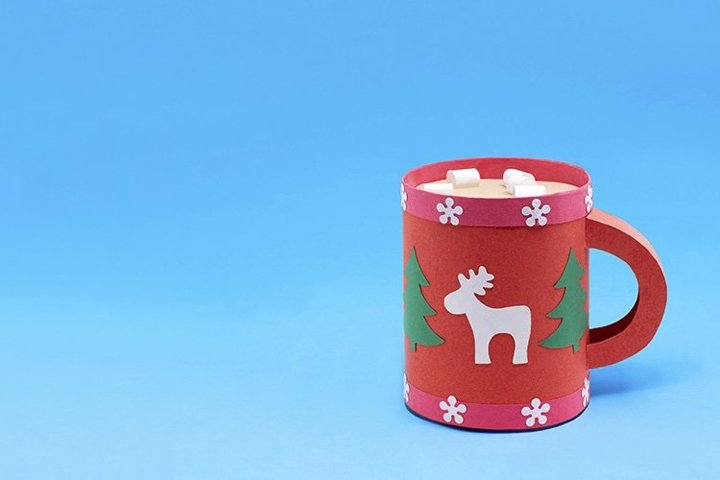 Paper mug with Christmas decoration