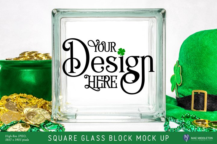 Square Glass Block mock up, styled photo for St. Patricks