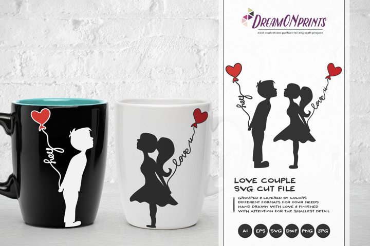 Love Couple SVG - Kissing Boy & Girl SVG