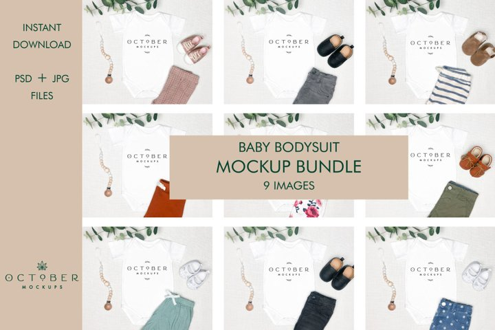 Mockup Bundle Baby Bodysuit   JPG and PSD smart object