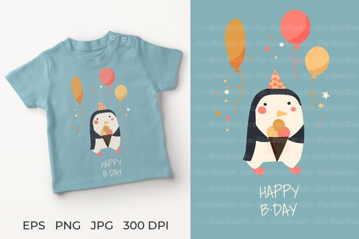 Penguin with ice cream illustration. Penguin Greeting Card H