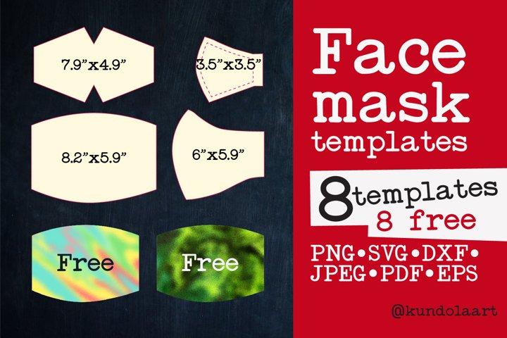 Face Mask Template SVG, PNG. BONUS