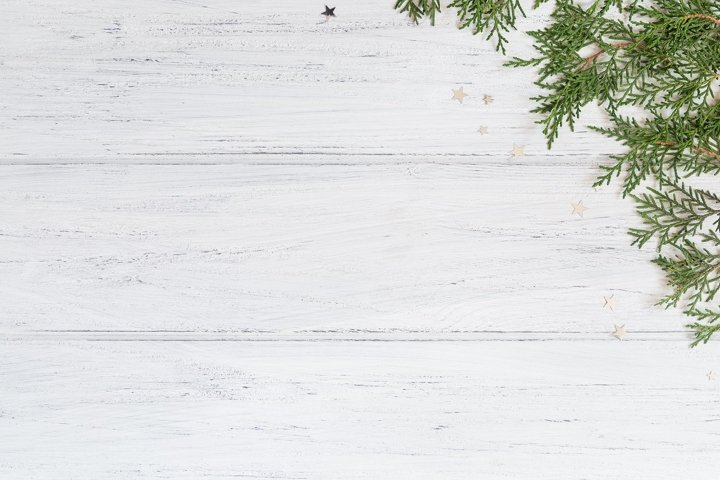 Photo of Christmas background with thuja branches