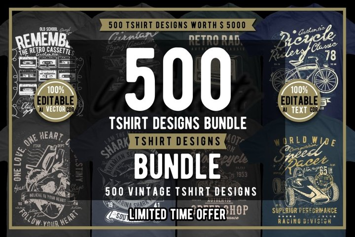 500 Vintage Tshirt Designs Bundle