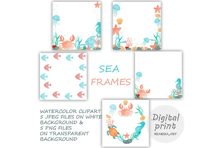 Set of 5 Clipart Digital Download Frames, Marine Elements