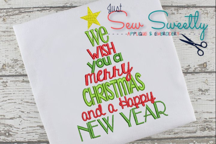 Christmas Subway Word Art Applique Embroidery Design