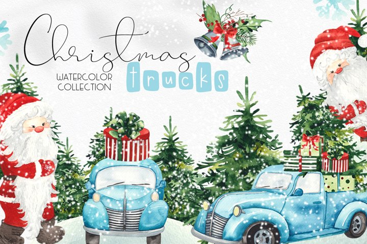 Watercolor Christmas trucks