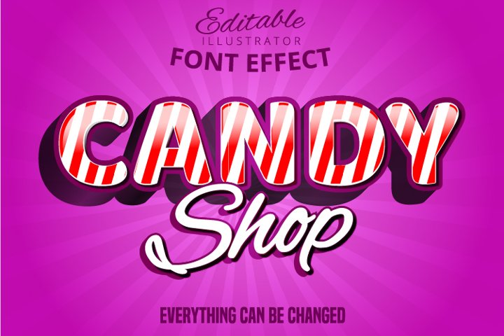Candy shop text, editable font effect