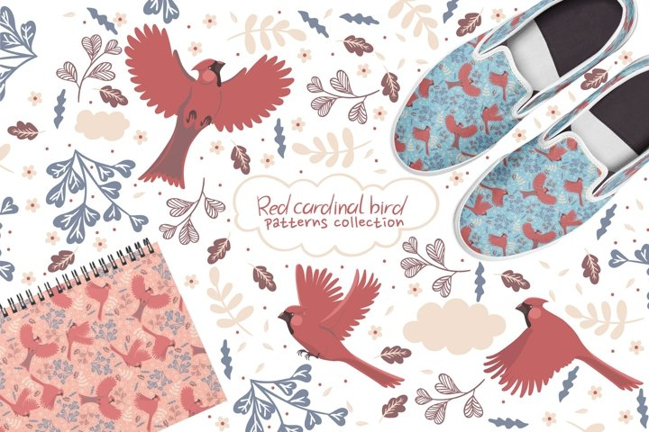 Collection of patterns with red cardinal birds