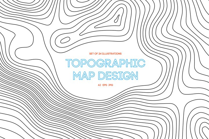 24 Vector Topographic Maps. Paper cut shapes.