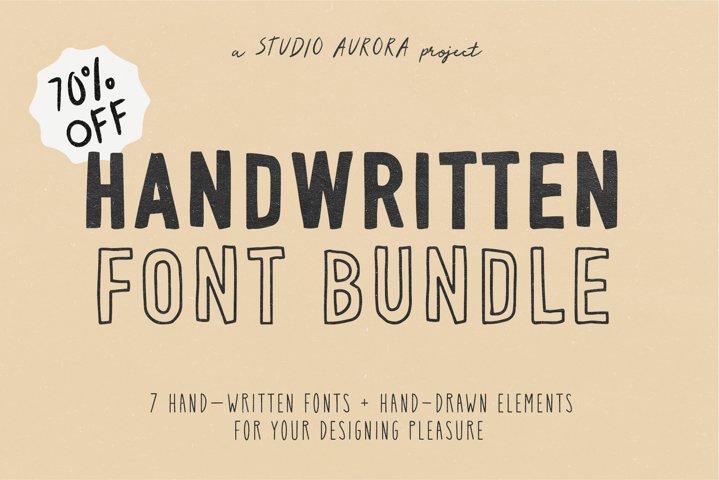 Handwritten Font Graphics Bundle