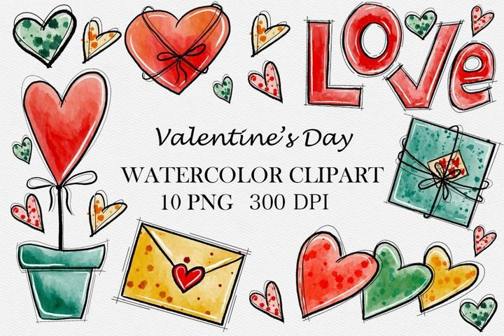 Valentines Day Watercolor Clipart, Love clipart