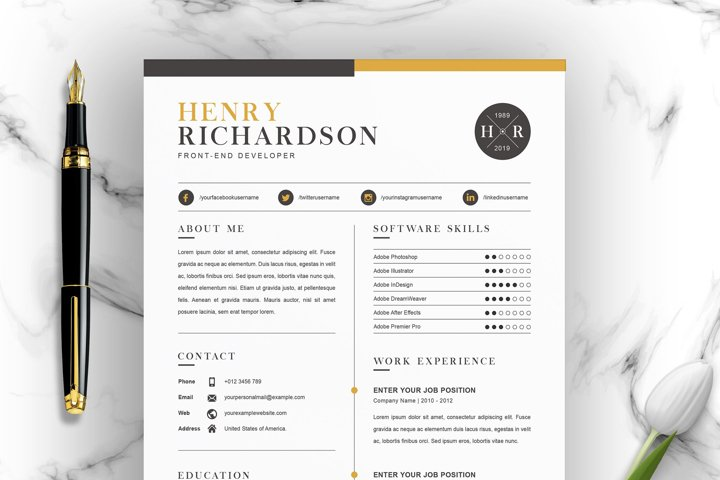 Professional Word Resume CV Template with Cover Letter