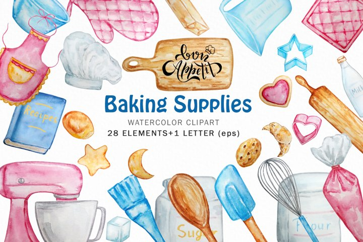 Watercolor Baking Clipart