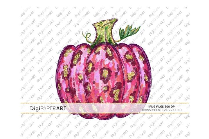 Pink Leopard Pumpkin PNG, Sublimation Thanksgiving Design