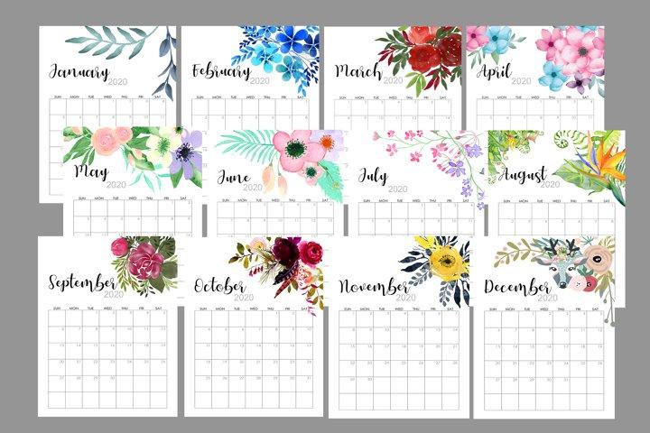 2020 Flowers Calendar Printable, Watercolor Botanical Floral