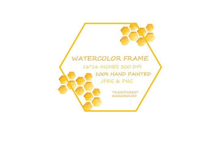 Watercolor Frames Digital Download Honey, Honeycomb Clipart
