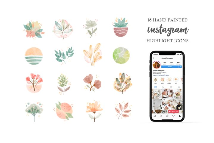 Watercolor Instagram Story Highlight Icons, Plants, Flowers