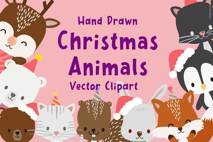 Hand Drawn Christmas Animals Vector