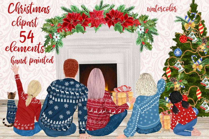 Christmas Family Clipart Matching Sweaters Fireplace graphic