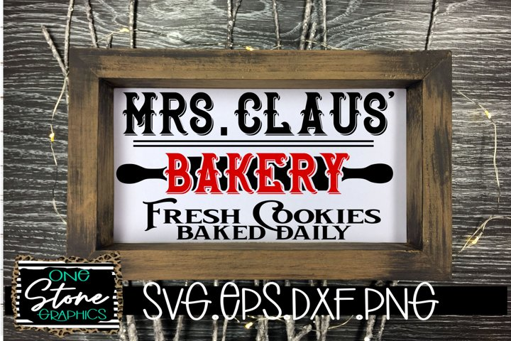 Mrs. Claus bakery cut file, Christmas sign file, Bakery