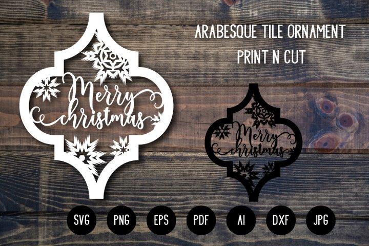 Arabesque Tile Christmas Ornament v.5. Lantern SVG Cut File
