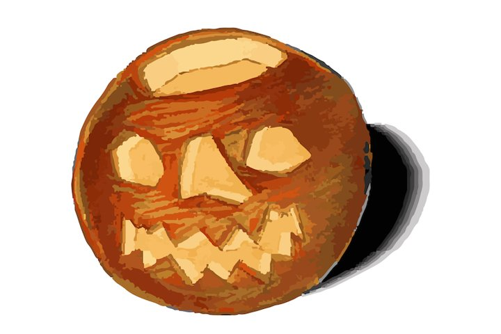 Retro halloween vintage pumpkin for graphic postcard