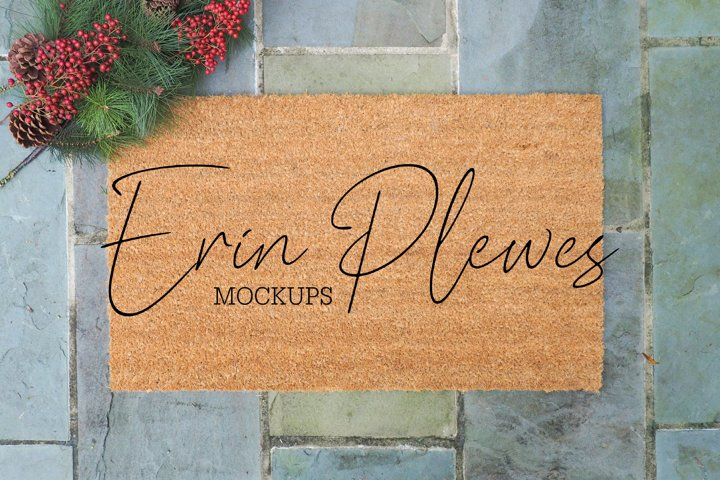 Doormat Mockup | Coir Mat Mock-up | Christmas Rug Photo Jpg