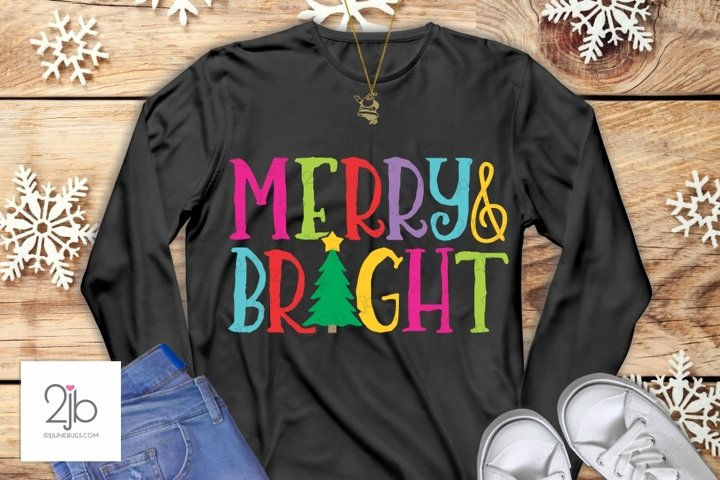 Merry & Bright SVG - Christmas