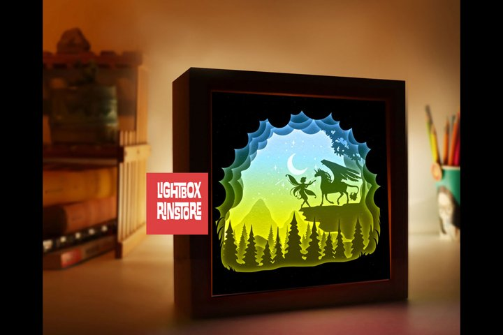 #147 Unicorn Fairy tail, 3D Shadow box paper cut lightbox