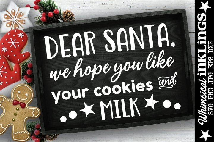 Cookies And Milk-Christmas Tray SVG