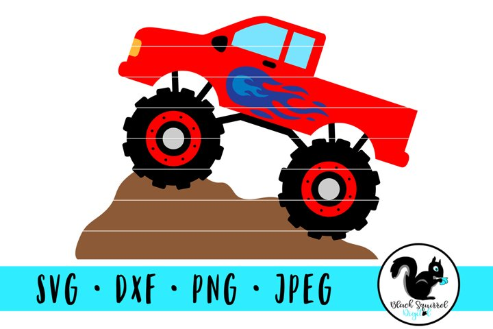 Red Monster Truck with Flames on Dirt Mound SVG, Truck Jam