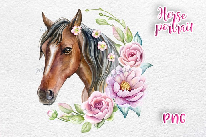 Horse face with flower wreath. Watercolor
