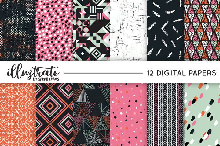 Pink and Black Vector Pattern Set | Seamless Digital Papers