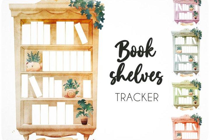 45 Bookshelf watercolor reading tracker
