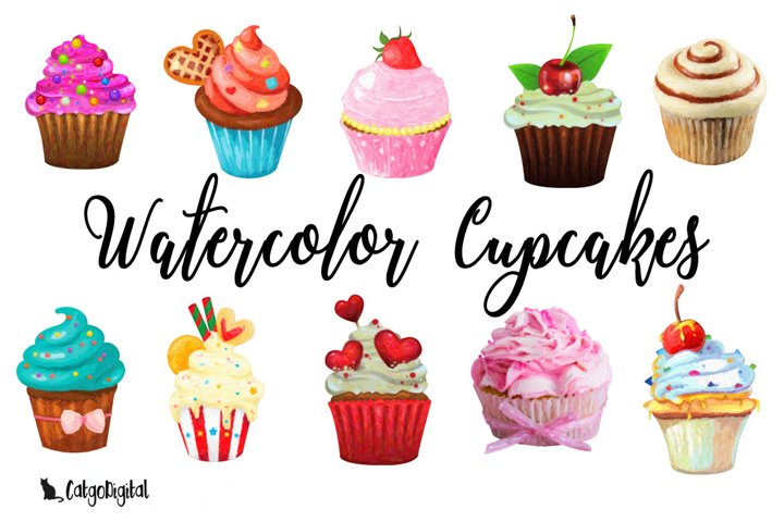 Watercolor Cupcakes Clipart