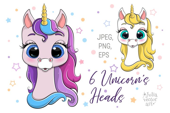 6 Unicorns heads - vector collection