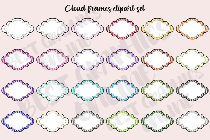 Cloud frames clipart graphics set