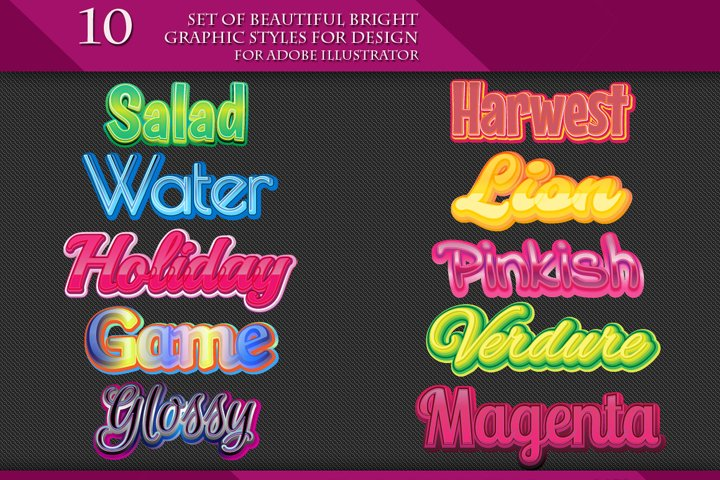 Set of Beautiful Bright Graphic Styles for Design
