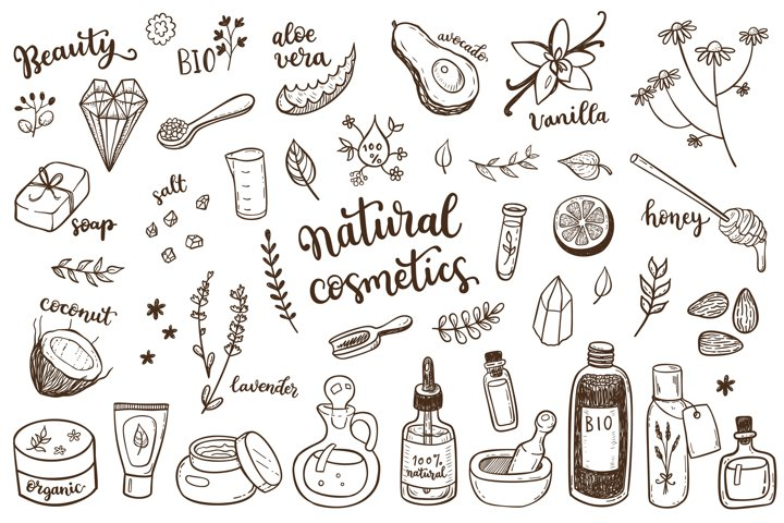 Organic cosmetics hand drawn set