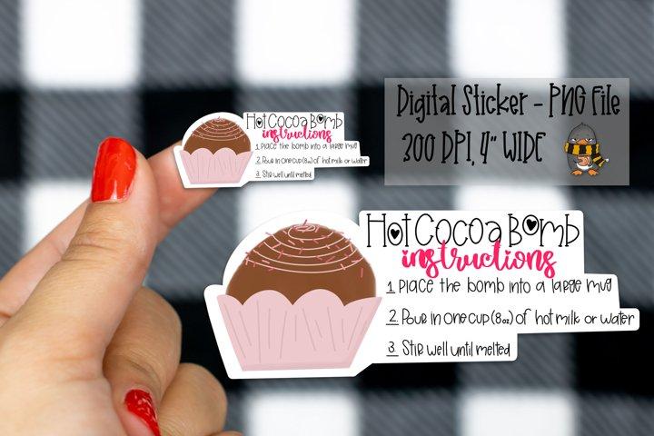 Hot Cocoa Bomb Instructions Digital Sticker