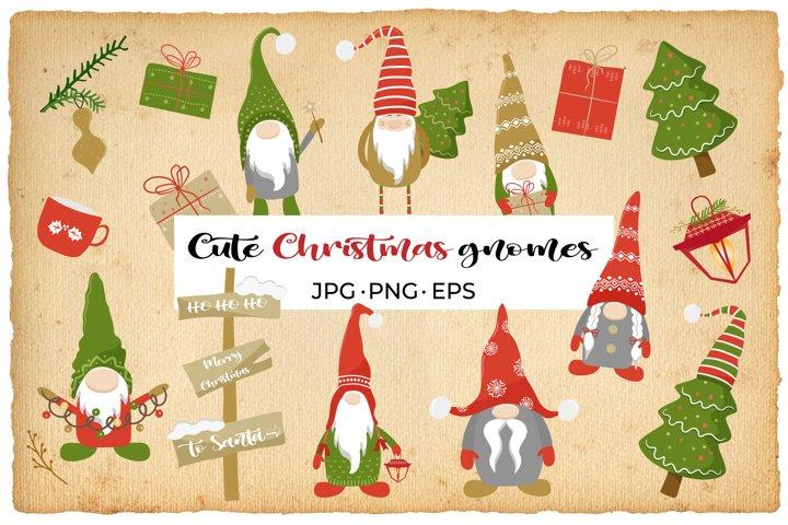 Christmas gnomes vector Cute cartoon gnome bundle eps