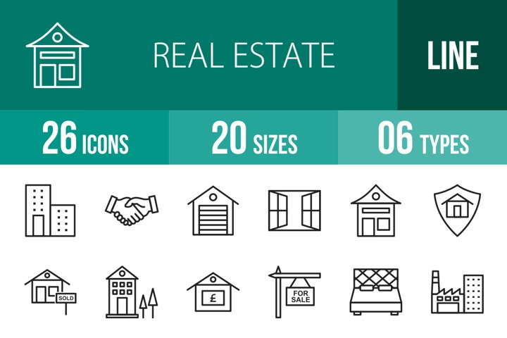 26 Real Estate Line Icons Season II