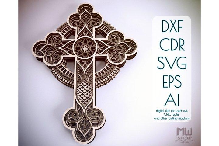 Cr01 - Religious Cross, Layered Cross pattern