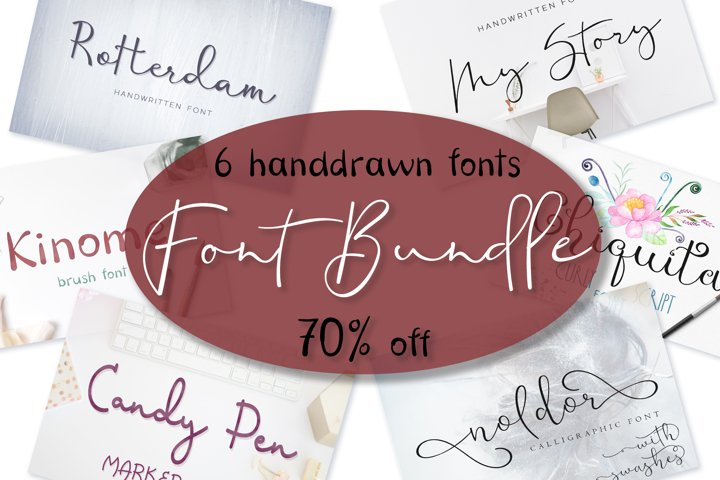 Font bundle - 6 handwritten and calligraphy fonts