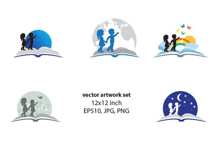 Kids and book - VECTOR ARTWORK SET
